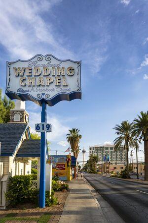 Las Vegas, USA - May 21 2018: Graceland Wedding Chapel on Las Vegas Boulevard, The Strip, Las Vegas, Nevada, USA, North America