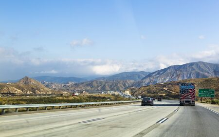 California, USA - May 27 2018: View of highway 15 near los Angeles, California, United States of America, North America Editorial