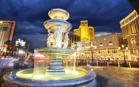 Las Vegas, USA - May 24 2018: The Venetian Hotel and Casino at night, The Strip, Las Vegas Boulevard, Las Vegas, Nevada, United States of America, North America