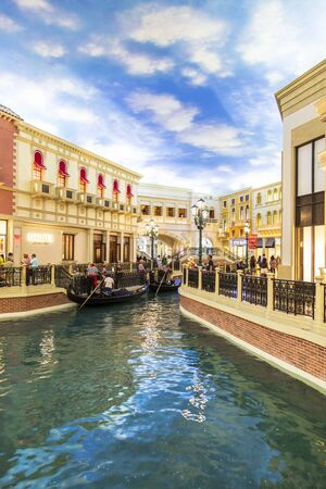 Las Vegas, USA - May 24 2018: Inside The Grand Canal Shoppes, The Strip, Las Vegas Boulevard, Las Vegas, Nevada, United States of America, North America