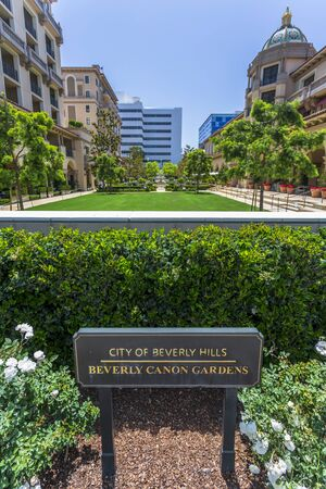 Beverly Hills, USA - May 28 2018: Beverly Canon Gardens, Beverly Hills, Los Angeles, California, United States of America, North America Banque d'images - 128465262