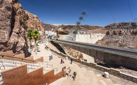 Hoover Dam, USA - May 25 2018: Hoover Dam and lake, border of Arizona and Nevada, United States of America, North America