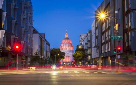 San Francisco, USA - June 11 2018: View of San Francisco City Hall illuminated at dusk, San Francisco, California, United States of America, North America