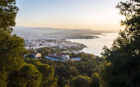 View of Chania from Venizelos Graves viewpoint, Akrotiri, Crete, Greek Islands, Greece, Europe