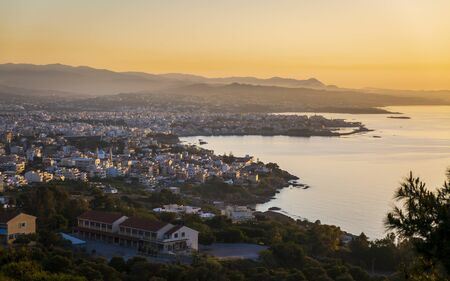 View of Chania from Venizelos Graves viewpoint at sunset, Akrotiri, Crete, Greek Islands, Greece, Europe