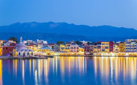 The Venetian Harbour at dusk, Chania, Crete, Greek Islands, Greece Europe