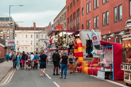 BRISTOL, ENGLAND - JULY 21, 2019: Street Fair and merchandise for sale at Bristol Harbour Festival in Bristol, United Kingdom, Europe Editorial