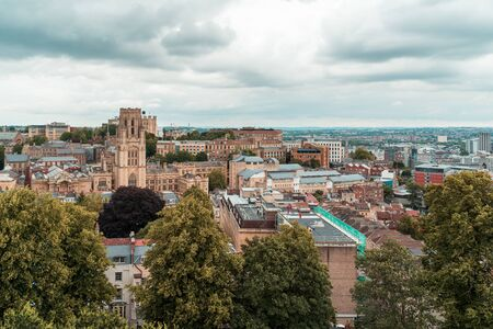 Areal view from of Bristol skyline from Cabot tower commemorating John Cabots voyage to America in 1497 Foto de archivo