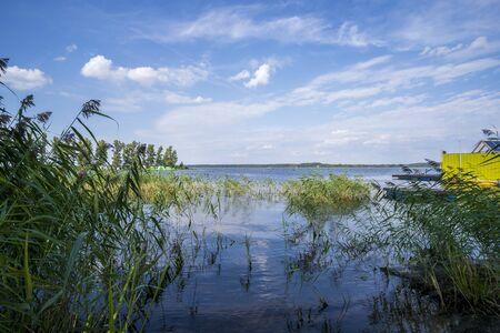 RIGA, LATVIA - AUGUST 16, 2019: Kisezers lake near Cabo Cafe, Mezaparks Riga Latvia Europe