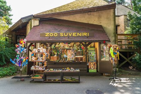 RIGA, LATVIA - AUGUST 16, 2019: Souvenir shop at Riga National Zoological Garden, Zoo Mezaparks Riga Latvia Europe