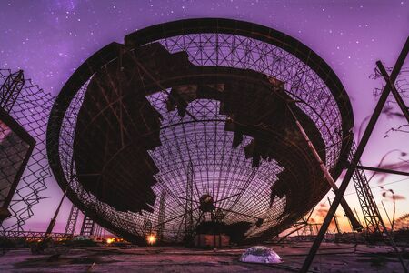 Abounded Area 51 satellite dish at sunset in Tenerife, Canary Islands, Spain, Europe