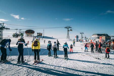 Alps France January 19th 2020: Roche de Mio at La Plagne ski resort, French Alps, Tarentaise, France, Europe