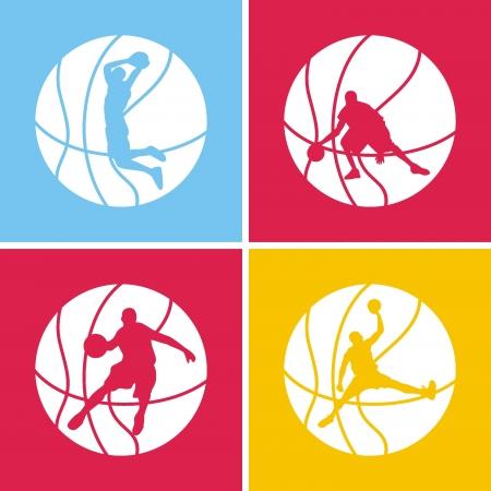 baloncesto: silueta de una pelota de baloncesto Vectores