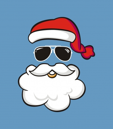 Santa claus with sunglasses on background  Illustration