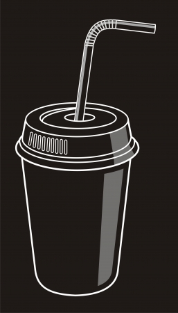 Cup of soda with striped straw Illustration