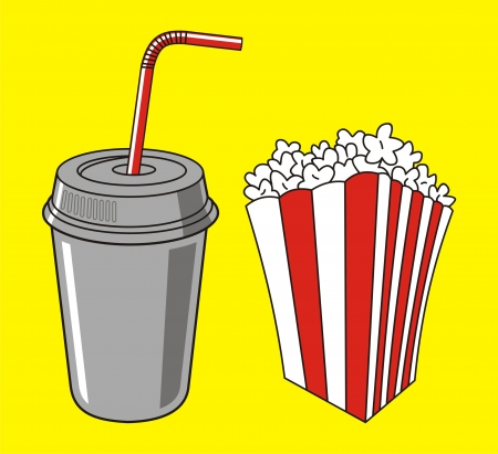 illustration of soda cup, straw and popcorn