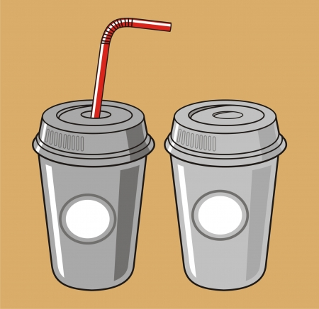 Cup of soda with striped straw Vector