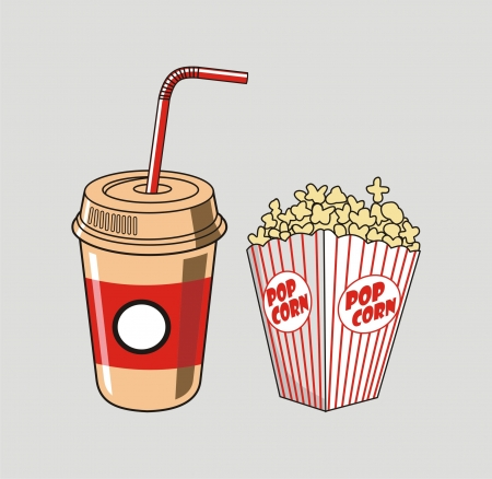 illustration of soda cup, straw and popcorn Vector