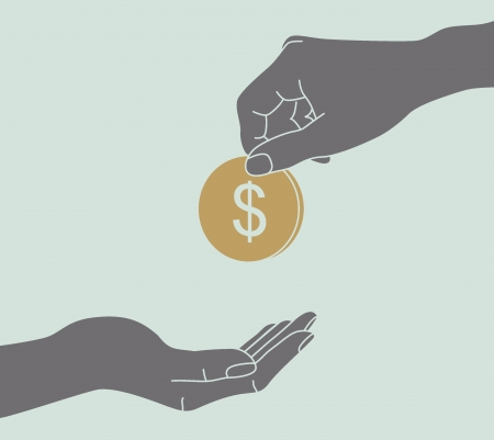 hand giving a donation Illustration