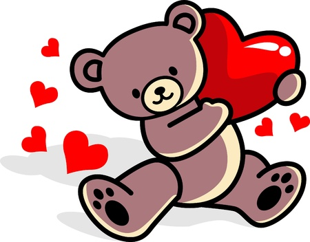 teddy bear love:  Teddy bear with love Illustration