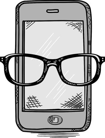 Smart Phone Mobile doodle  Illustration