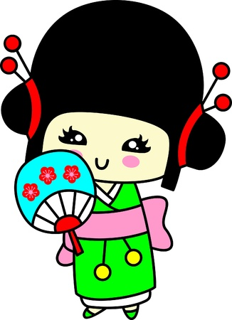 Japanese girls in kimonos of autumn and spring  Vector