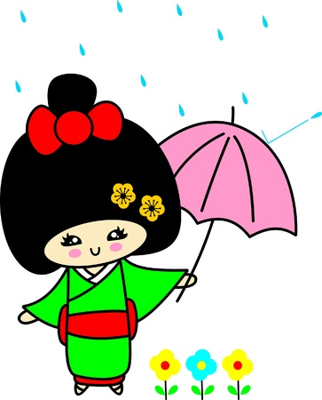 In the rain,Japanese girls in kimonos Vector