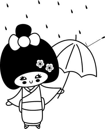 In the rain,Japanese girls in kimonos illustration Vector
