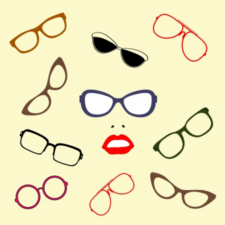 kiss lips: Sunglasses illustration