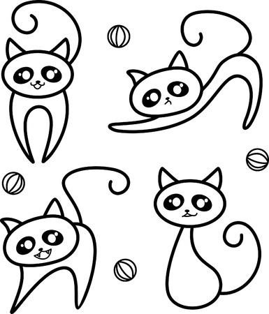 silueta gato: Ilustración del gato en el fondo blanco Vectores