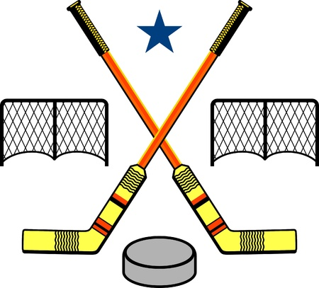 goal post: hockey stick and puck  Illustration