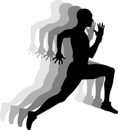 atleta corriendo: Imagen aislado de un Hombre Sprinter