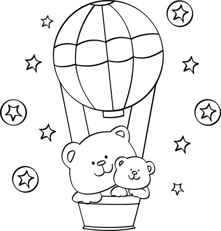 coloring cute Bear with balloon
