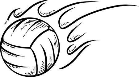 Silueta voleibol pelota con la llama