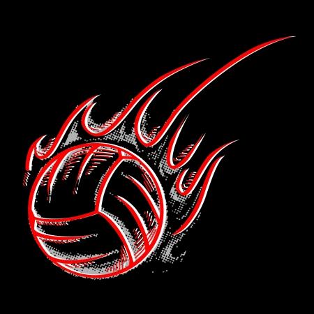 Silhouet volleybal bal met vlam