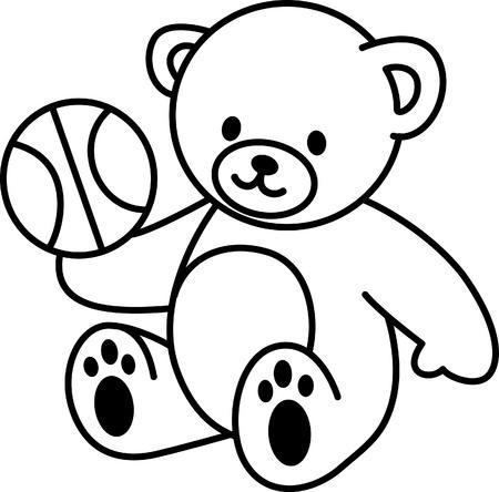 Illustratie van Very Cute Teddybeer met basketbal