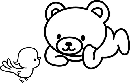 Illustration of Very Cute Teddy Bear with bird