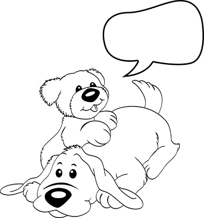 line drawing:  cute dog with bubble speech