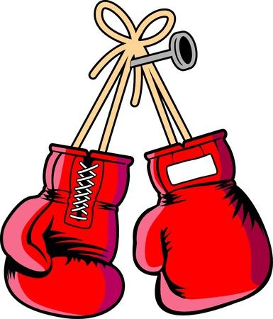 vettore rosso guanti boxe