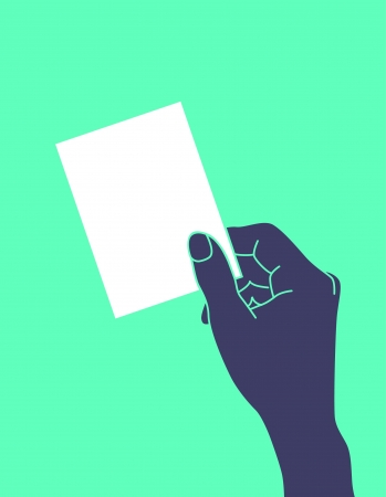 carte de visite vierge: Illustration de la main tenant une carte de visite vierge Illustration