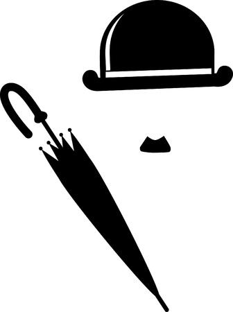 Retro Hat, mustachs   umbrella
