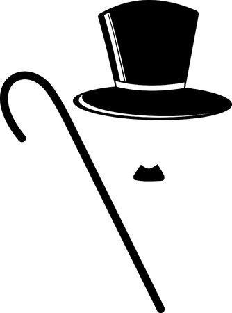 bowler hat: Retro Hat, mustachs   Cane  Illustration