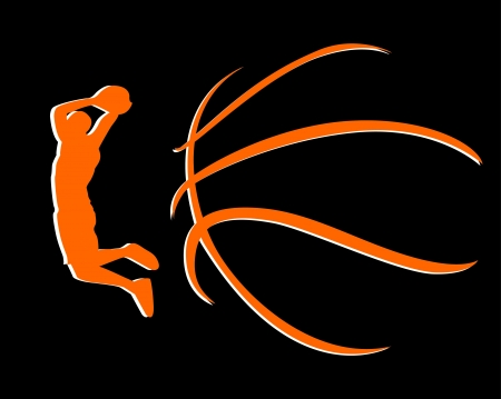 basketball background:  A silhouette of a basketball isolated against white background