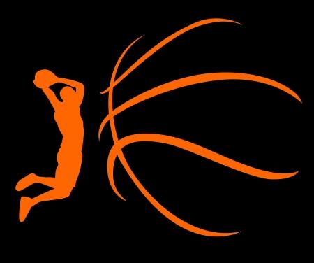 basket ball: Una silueta de una pelota de baloncesto aislados sobre fondo blanco