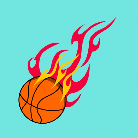 basketball design element and flames Vector