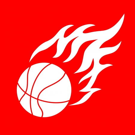basketball ball in fire: basketball design element and flames