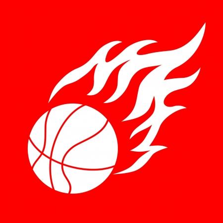 elemento de diseño de baloncesto y las llamas