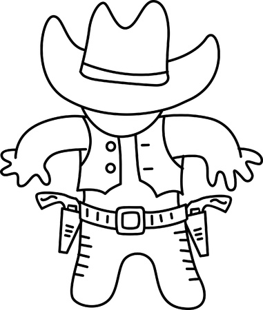 coloring owboy in action Vector