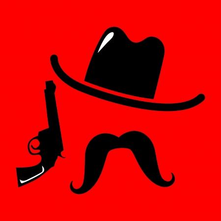 gunfire:  cowboy icon vector illustration