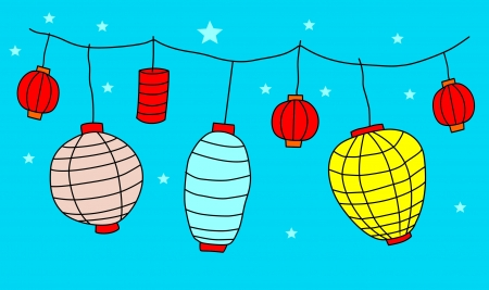 moon cake festival: Big traditional chinese lanterns  Illustration